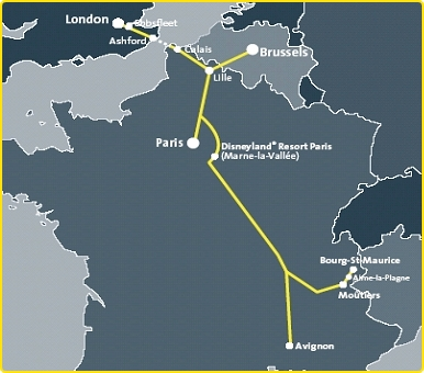 Eurostar Map of Routes