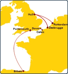 P&O Routes (Exxcluding Irish Sea)